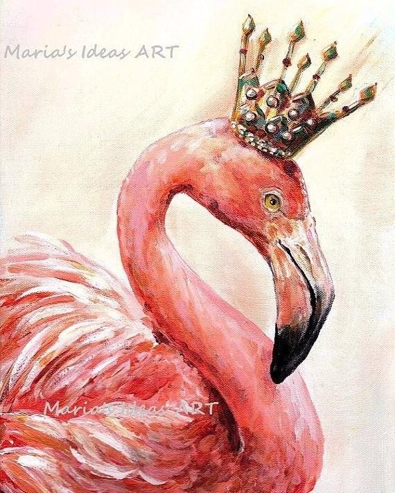 Удивительные картины фламинго маслом005