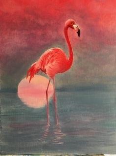 Удивительные картины фламинго маслом006