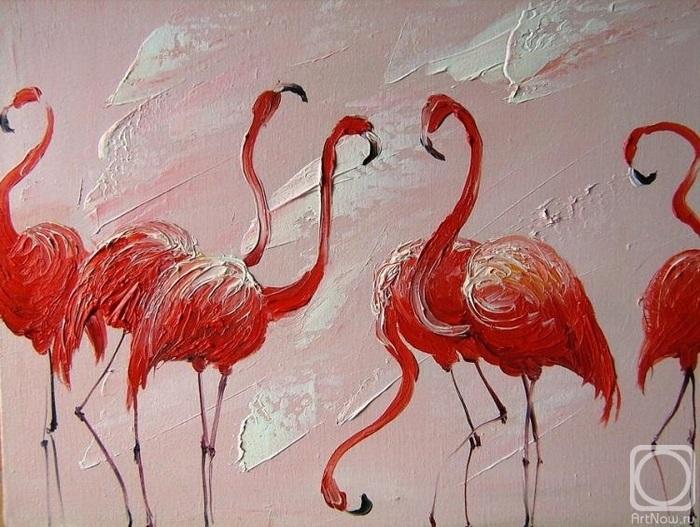 Удивительные картины фламинго маслом007