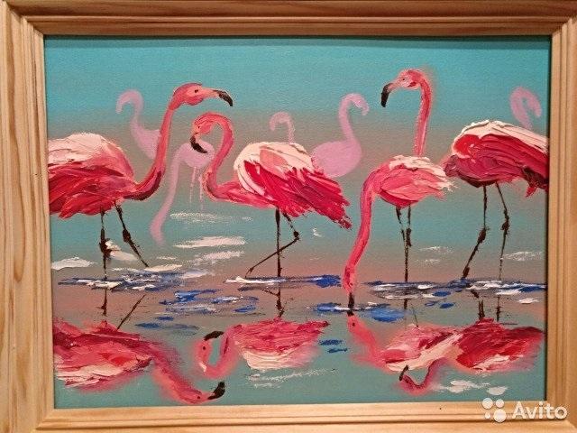Удивительные картины фламинго маслом009
