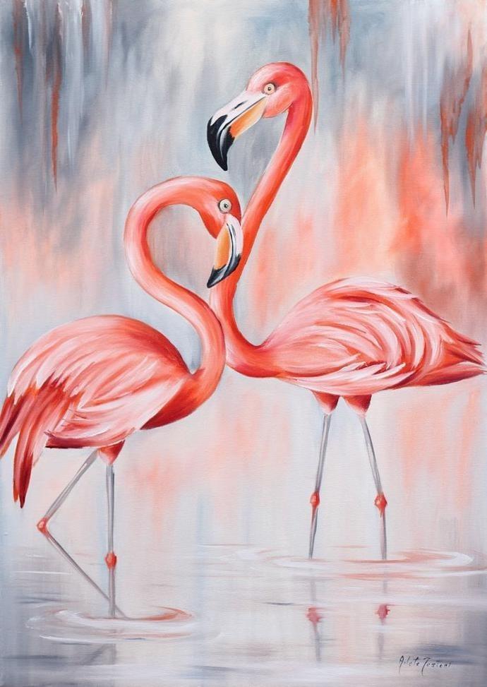 Удивительные картины фламинго маслом010