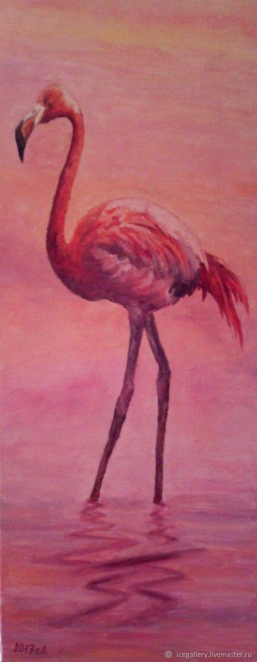 Удивительные картины фламинго маслом015