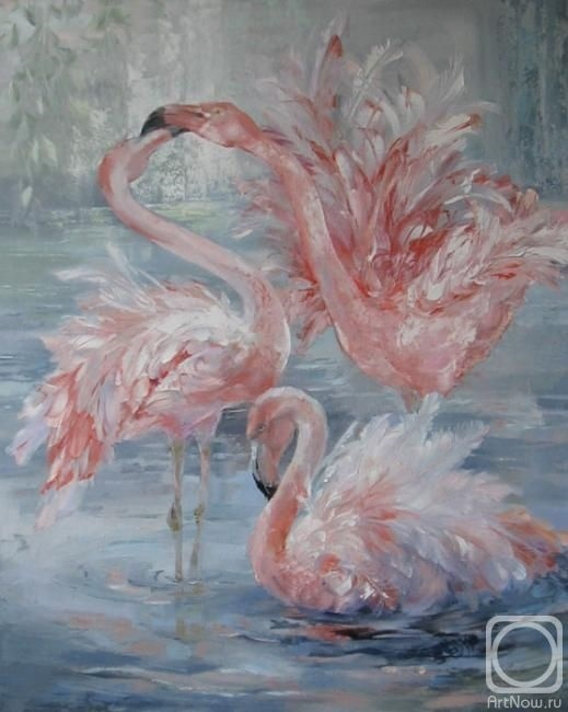 Удивительные картины фламинго маслом016