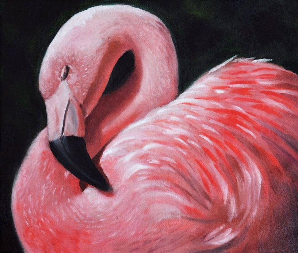 Удивительные картины фламинго маслом018