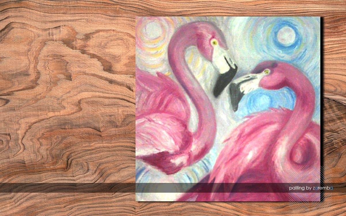 Удивительные картины фламинго маслом019