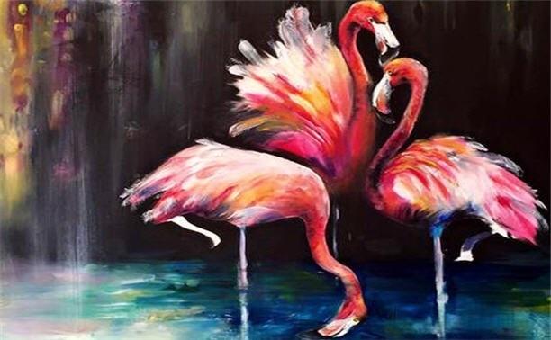 Удивительные картины фламинго маслом021