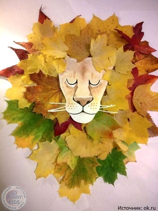 Удивительные коллажи из осенних листьев (22)