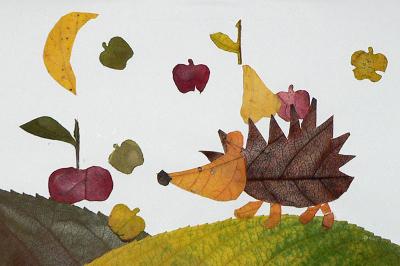 Удивительные коллажи из осенних листьев (32)