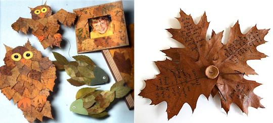 Удивительные коллажи из осенних листьев (5)