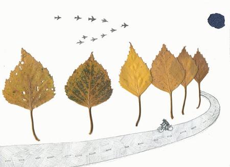 Удивительные коллажи из осенних листьев (7)