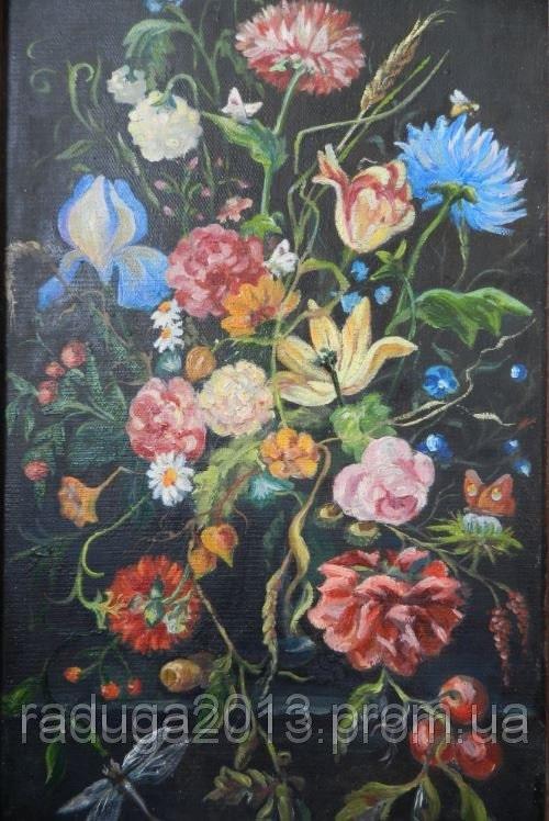 Цветы картины на черном фоне006