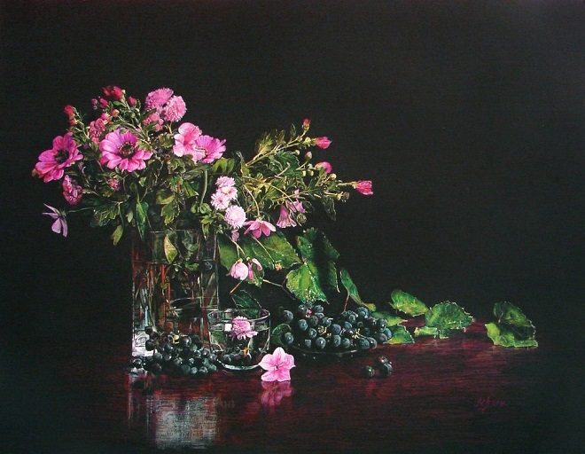 Цветы картины на черном фоне014