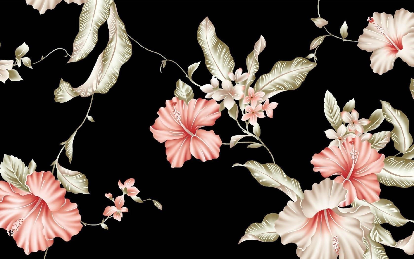 Цветы картины на черном фоне018