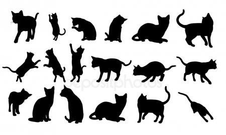 Черно-белый силуэт кошки002