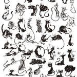 Черно-белый силуэт кошки — картинки