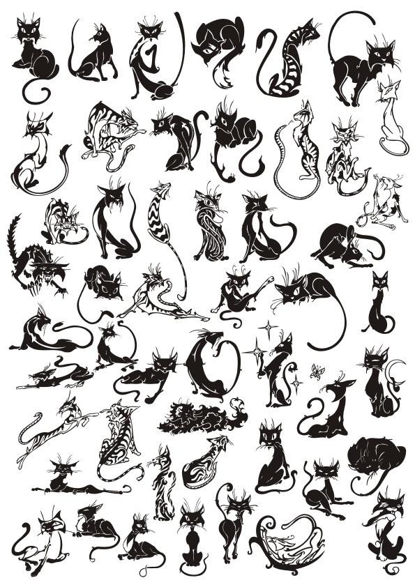 Черно-белый силуэт кошки003