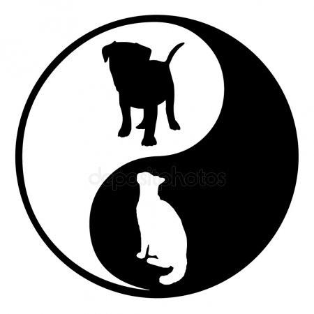 Черно-белый силуэт кошки004
