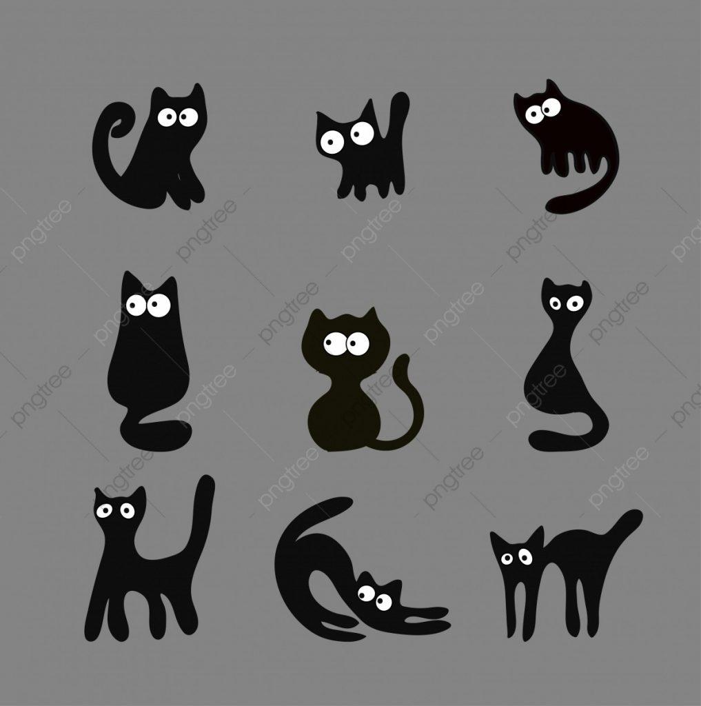 Черно-белый силуэт кошки005