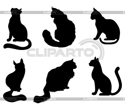 Черно-белый силуэт кошки006