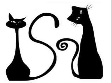 Черно-белый силуэт кошки008