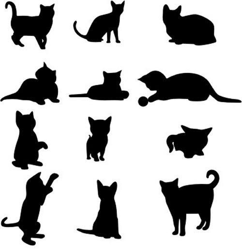 Черно-белый силуэт кошки009
