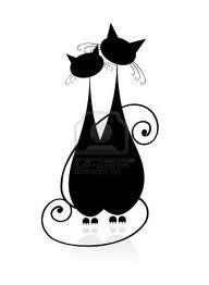 Черно-белый силуэт кошки012