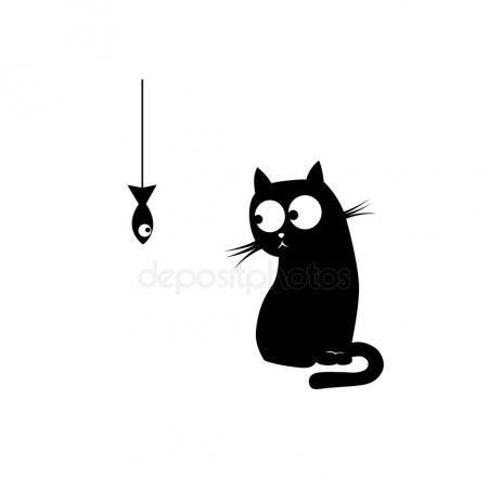Черно-белый силуэт кошки013