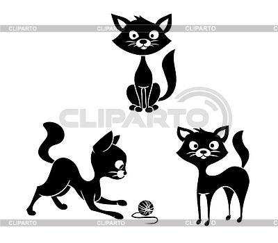 Черно-белый силуэт кошки014