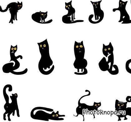 Черно-белый силуэт кошки016