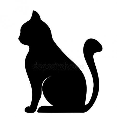 Черно-белый силуэт кошки017