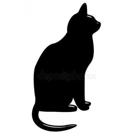 Черно-белый силуэт кошки018