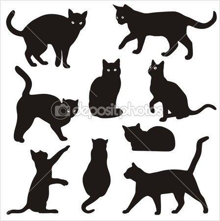 Черно-белый силуэт кошки023