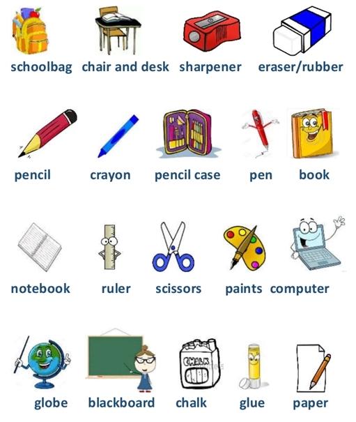 Школьные принадлежности картинки на английском для детей001