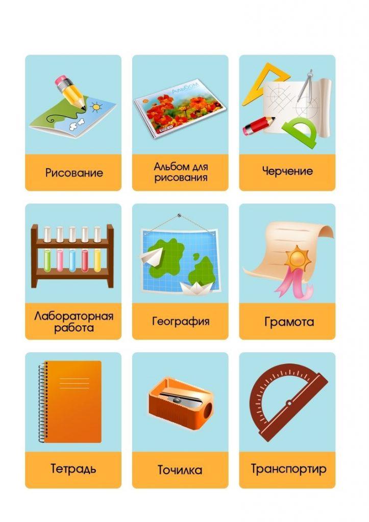 Школьные принадлежности картинки на английском для детей012