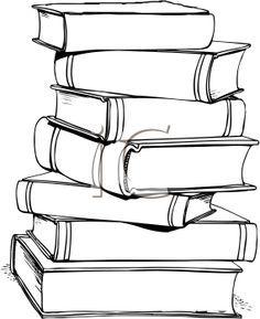 Cтопка книг черно-белые картинки - подборка (12)