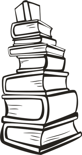 Cтопка книг черно-белые картинки - подборка (16)