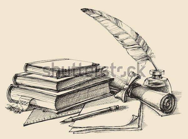 Cтопка книг черно-белые картинки - подборка (3)