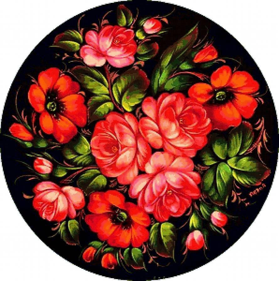 Как нарисовать цветы на подносе004