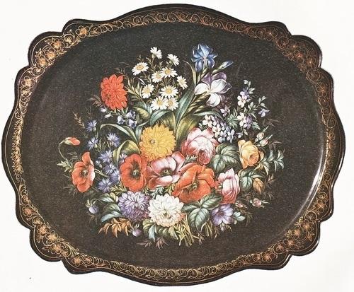 Как нарисовать цветы на подносе007