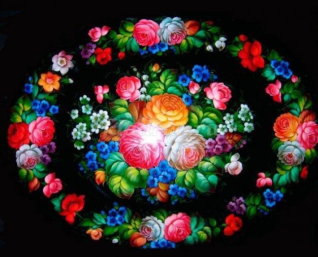 Как нарисовать цветы на подносе008