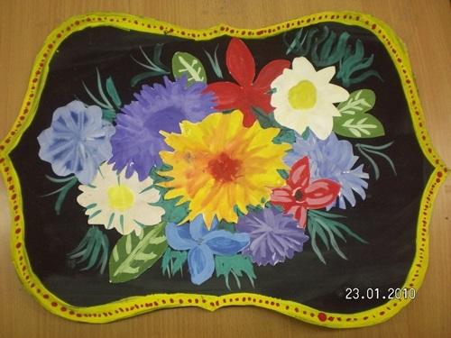 Как нарисовать цветы на подносе009