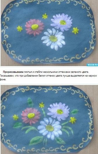 Как нарисовать цветы на подносе011