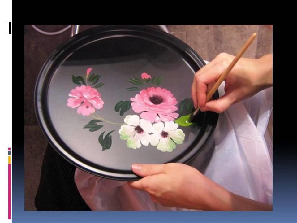 Как нарисовать цветы на подносе020