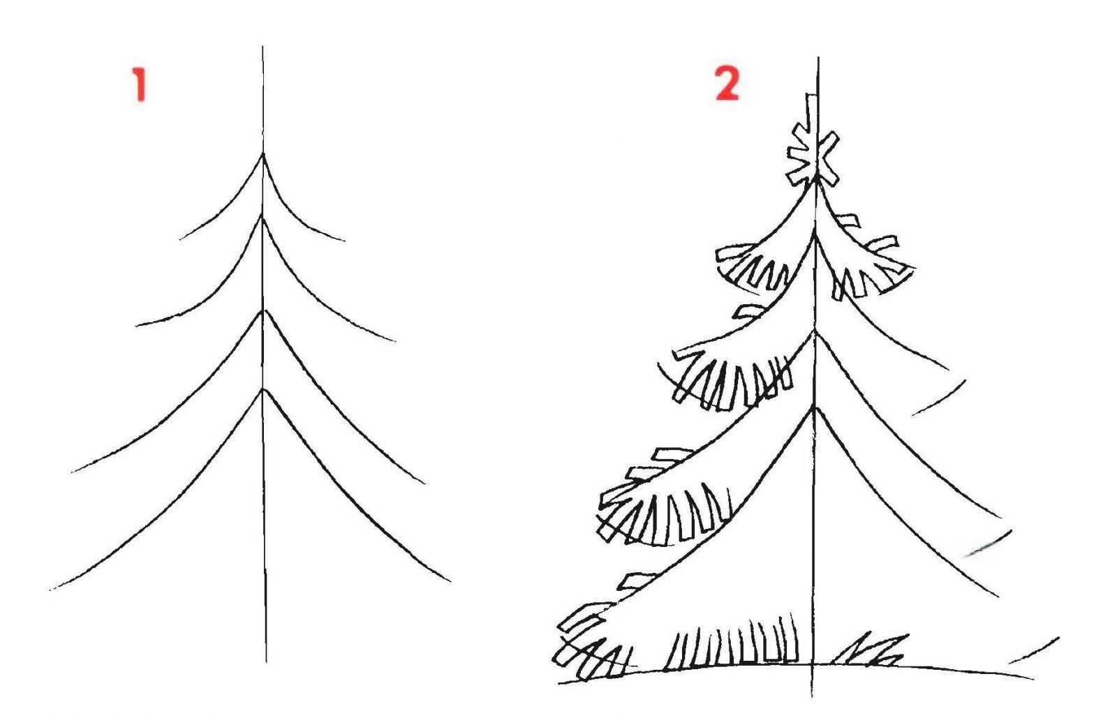 Красивые елки на новый год рисунки (12)