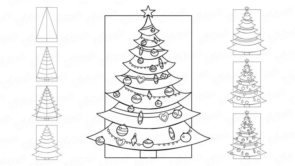Красивые елки на новый год рисунки (4)