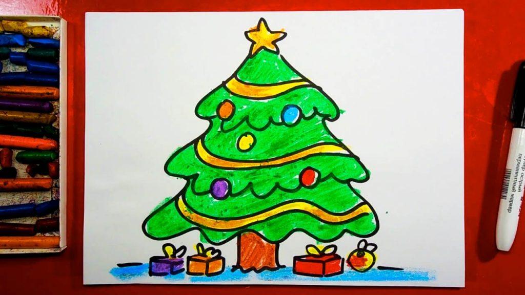 Красивые елки на новый год рисунки (9)