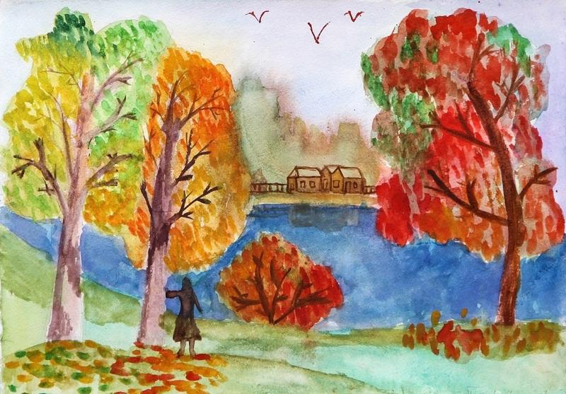 Красивые рисунки октябрь для детей005