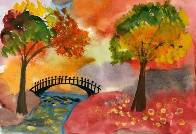Красивые рисунки октябрь для детей016