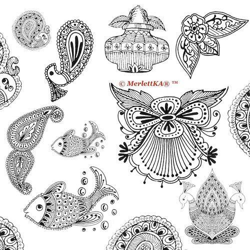 Красивые рисунок индийский орнамент (9)
