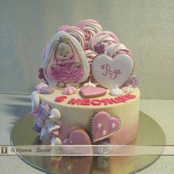 Красивый тортик с зайкой ми005